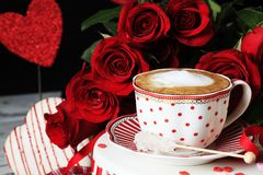 Valentine Espresso with Red Roses Stock Images