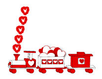 Valentine Express. A border illustration of a wooden toy train decorated for Valentine Day Royalty Free Stock Image
