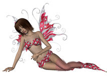 Valentine Fairy Relaxing. Young pretty fairy in a Valentine outfit relaxing Stock Images