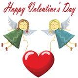 Valentine Fairys die die met hart vliegen op witte achtergrond wordt geïsoleerd Stock Fotografie
