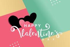 Valentine' feliz; diseño del saludo del día de s Ejemplo popular de moda del vector de la celebración de la plantilla libre illustration