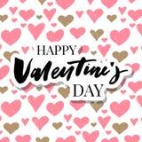 Valentine' feliz; a mão do dia de s tirada escova a rotulação com a sombra longa, isolada no fundo vermelho rico Aperfeiçoe p ilustração royalty free