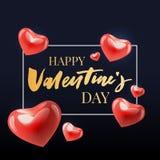 Valentine' feliz; a mão do dia de s tirada escova a rotulação com a sombra longa, isolada no fundo vermelho rico Aperfeiçoe p ilustração do vetor