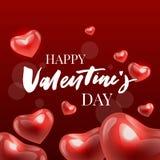 Valentine' feliz; a mão do dia de s tirada escova a rotulação com a sombra longa, isolada no fundo vermelho rico Aperfeiçoe p ilustração stock