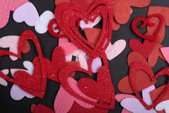 Valentine felt hearts Royalty Free Stock Image