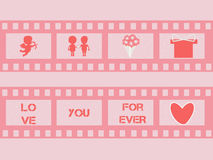 Valentine film strip with cupid,  hearts. vector. Valentine's day film strip with cupid,  hearts, bunch of flowers, present, cuple and letters. Wedding film Royalty Free Stock Photography