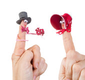 Valentine finger puppets. Caricature made of a finger puppet representing a valentine couple Royalty Free Stock Photos