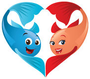 Valentine Fish In Love. Cute Valentine fish couple forming a heart. A fun cartoon approach to your Valentine's Day needs Stock Image