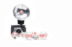 Valentine flash blubs Royalty Free Stock Image