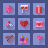 Valentine flat blue rectangle icons set for mobile or web site applications. Royalty Free Stock Photo