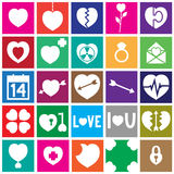 Valentine Flat Design Square Icons Stockfoto
