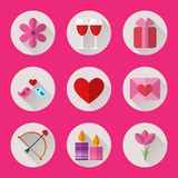 Valentine flat round icons set for mobile or web site applications. Royalty Free Stock Image