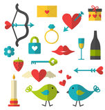 Valentine flat things set Royalty Free Stock Photos
