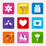 Valentine flat white rectangle icons set for mobile or web site applications. Stock Photos
