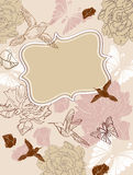 Valentine floral background. Valentine hand drawing floral background with place for text Royalty Free Stock Images