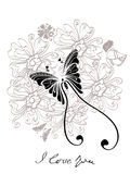 Valentine floral black and white background. Valentine hand drawing black and white background Stock Photos