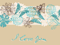Valentine floral brown and blue background. Valentine hand drawing brown and blue background with flowers Stock Photos