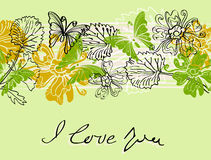 Valentine floral green background. Valentine hand drawing background with flowers Stock Photography