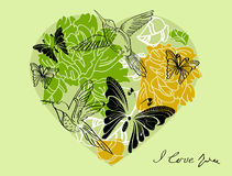 Valentine floral green background with heart. Valentine hand drawing green background with floral heart Stock Image