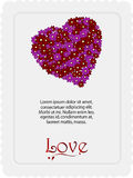Valentine floral heart card with sample text Stock Photo