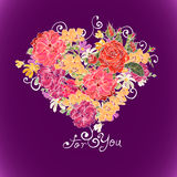 Valentine floral heart Royalty Free Stock Images