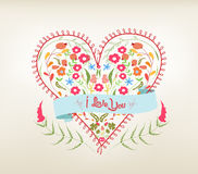 Valentine floral hearts greeting card Royalty Free Stock Photos