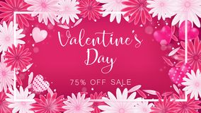 Valentine floral invitation is decorate in red and pink. Color as flower blooming, border is pearl pink along with petals are dropped on beside , usage in Stock Photography