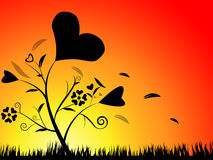 Valentine floral silhouette background Stock Images