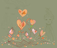 Valentine flower heart and love girl, vector. Stock Image