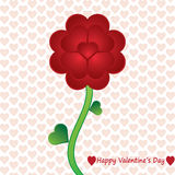 Valentine flower whit heart background. Vector Royalty Free Stock Images
