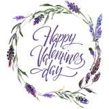 Valentine Flower Wreath Aquarellblumenillustration mit Aufschrift ich liebe dich stockbilder