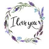 Valentine Flower Wreath Aquarellblumenillustration mit Aufschrift ich liebe dich lizenzfreie stockfotos