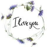 Valentine Flower Wreath Ejemplo de la flor de la acuarela con la inscripción te quiero foto de archivo libre de regalías