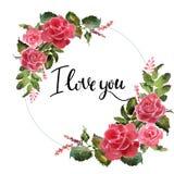 Valentine Flower Wreath Ejemplo de la flor de la acuarela con la inscripción te quiero fotografía de archivo libre de regalías