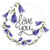Valentine Flower Wreath. Watercolor flower illustration with inscription i love you royalty free stock photography