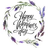 Valentine Flower Wreath. Watercolor flower illustration with inscription happy valentines day. Valentine Flower Wreath. Watercolor hand drawing flower vector illustration