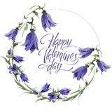 Valentine Flower Wreath. Watercolor flower illustration with inscription happy valentines day. Valentine Flower Wreath. Watercolor hand drawing flower stock illustration