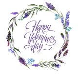 Valentine Flower Wreath. Watercolor flower illustration with inscription happy valentines day. Valentine Flower Wreath. Watercolor hand drawing flower royalty free illustration