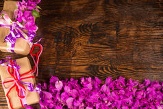 Valentine flowers and prestents background Royalty Free Stock Image