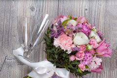 Valentine flowers on wooden background Royalty Free Stock Photos