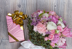 Valentine flowers on wooden background Royalty Free Stock Photo