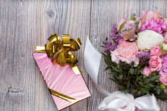 Valentine flowers on wooden background Stock Images