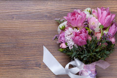 Valentine flowers on wooden background Stock Photography