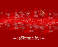 Valentine with fly hearts background Stock Photos