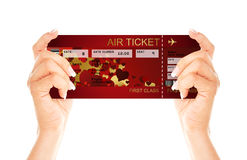 Valentine fly ticket holded by hands Stock Image