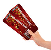Valentine fly tickets holded by hand Stock Photography