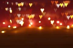 Valentine' ; fond romantique de bokeh de scintillement de jour de s avec beaucoup de lumières de coeurs image libre de droits