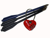 Valentine. In the form of a lock shock shafts Royalty Free Stock Photography