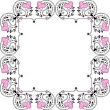 Valentine frame. Artistic frame with pink hearts Stock Photos