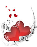 Valentine frame. Vector musical notes staff background for design use Stock Photo